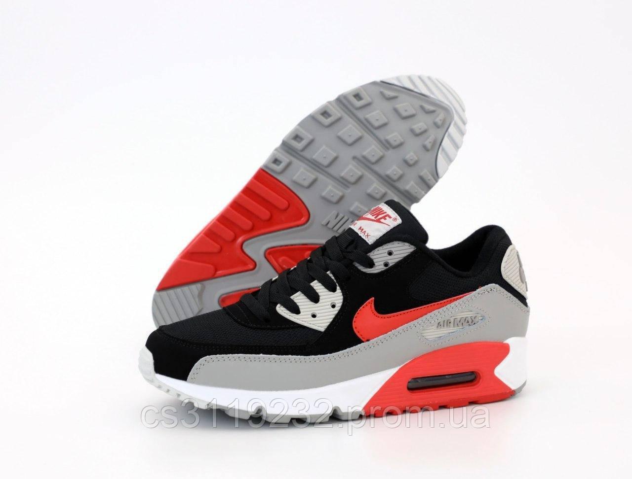 Мужские кроссовки  Nike Air Max 90 Gray Black (черно-серые)