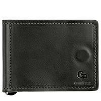 Черный кожаный мужской кошелек с зажимом Grande Pelle