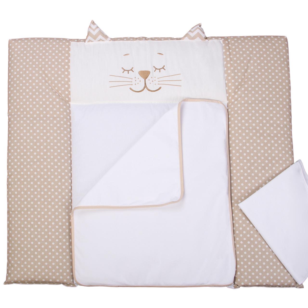 Пеленальный матрас для новорожденных тканевый Veres Smiling animals beige