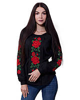 Черная женская вышиванка Розы (размеры XS-3XL)