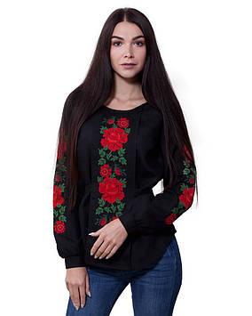 Чорна жіноча вишиванка Троянди (розміри XS-3XL)