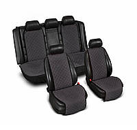 Накидки на сиденье Эко-замша широкие (комплект) без лого, цвет темно-серый Код: 3745043
