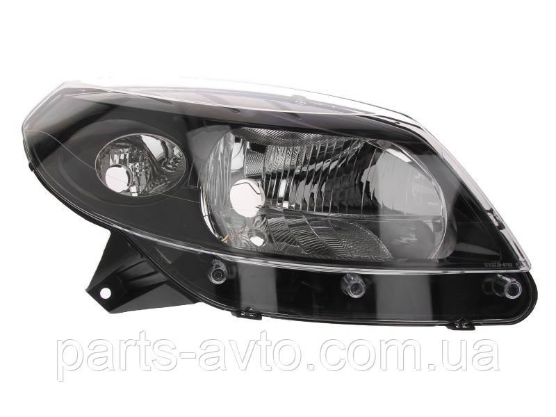 Фара передняя RENAULT SANDERO 08-13 правая, черная EuroEx EX-26422, 8200526422, 260104793R