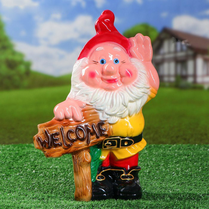 Садовий гном з табличкою Welcome 35 см кераміка