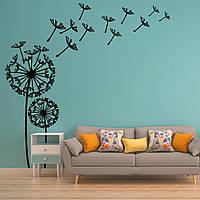 Трафарет цветы одуванчики на стену в гостиную, спальню, прихожую, 230х230 см