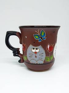 """Чашка кофейная 150 мл """"Любопытные коты с тюльпаном"""""""