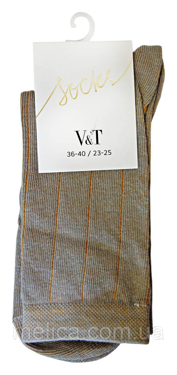 Носки женские Socks V&T classic ШЖКг 44-024-0370 Версаль с тонкими полосками р.23-25 Светло-серый