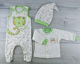Комплект для малюків 3 речі 1-2 міс. Зростання 56 білий/зелений Рібана КП(56) Бембі Україна