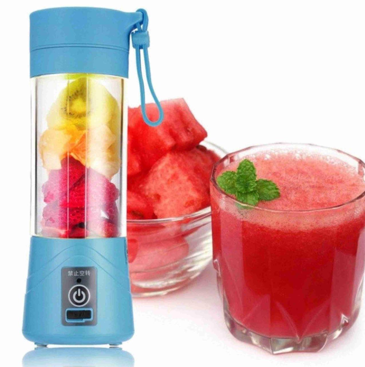 Фитнес-блендер Smart Juice Cup Fruits синий. Компактный портативный блендер с зарядкой от USB