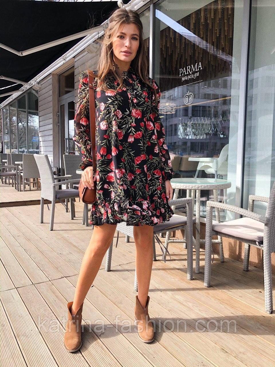 Женское шифоновое платье свободного кроя цветочный принт с рюшей