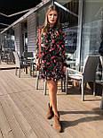Женское шифоновое платье свободного кроя цветочный принт с рюшей, фото 2