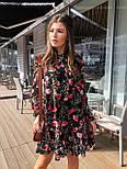 Женское шифоновое платье свободного кроя цветочный принт с рюшей, фото 3