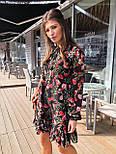 Женское шифоновое платье свободного кроя цветочный принт с рюшей, фото 4
