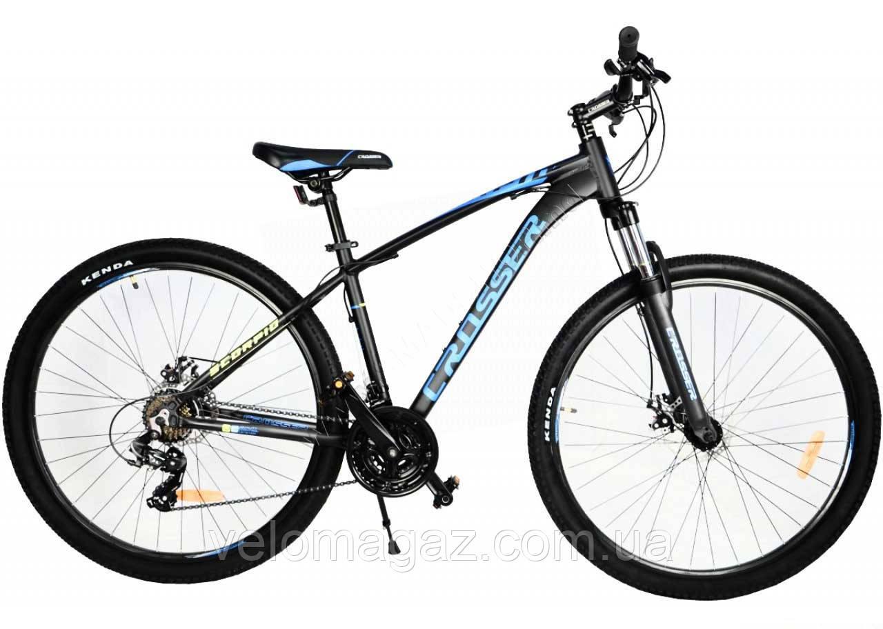 """Велосипед горный Crosser Scorpio*17 29"""" черно-синий алюминиевый"""