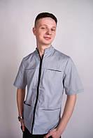Мужской медицинский костюм на молнии (Серый)