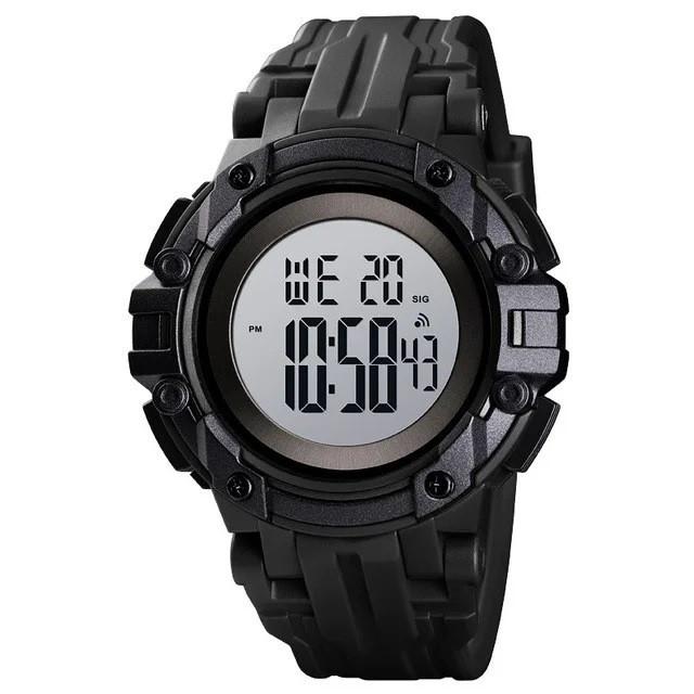 Skmei 1545 черные с белым циферблатом мужские спортивные часы