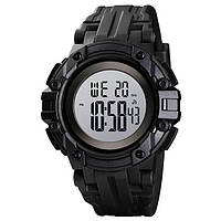 Skmei 1545 черные с белым циферблатом мужские спортивные часы, фото 1