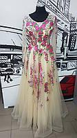 Платье выпускное вышитое роскошное цвет шампанского