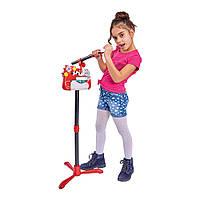 Детский микрофон на стойке, с разъемом для МР3 плеера, 130 см, свет и звук эффекты