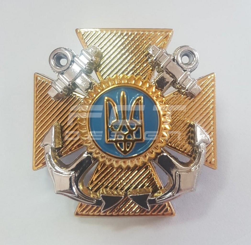 Кокарда крест ВМС нового образца пластик \ Військово-Морські Сили України на кашкет
