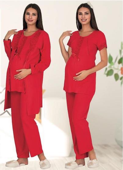 Пижама для беременных и кормящих мам Polatyildiz passionate-red