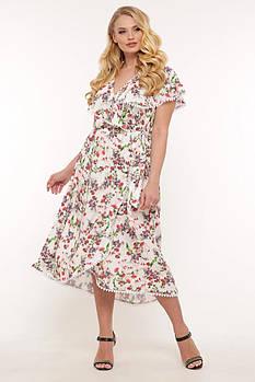 / Размер 52,54,56,58 / Женское платье летнее на запах Сафина / цвет белый