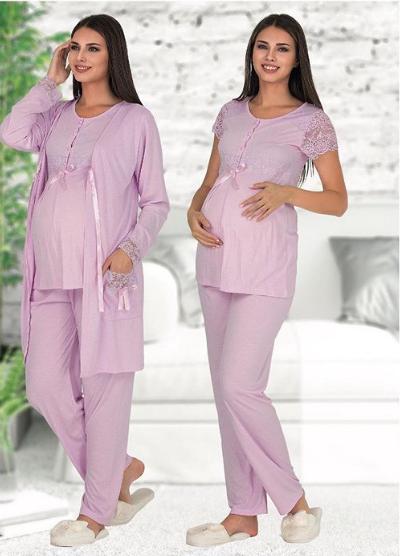 Пижама для беременных и кормящих мам Polatyildiz sweet- light-purple
