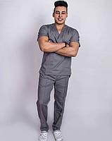 Мужской хирургический медицинский костюм (Темно-серый)