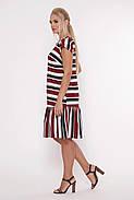 / Размер 52,54,56,58 /  Женское прямое платье Яна полоса бордо / больших размеров, фото 4