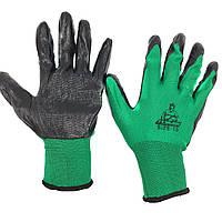 Перчатки рабочие Tomik стрейч черно-зеленые с латексным покрытием