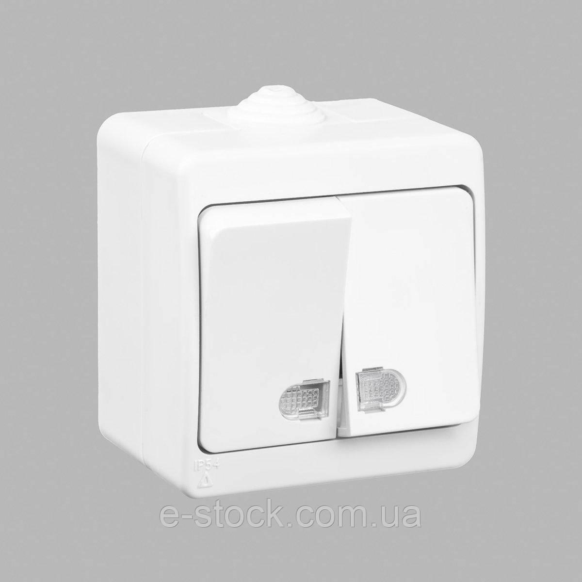 Nemli выключатель 2-ой с подсветкой влагозащищенный серый