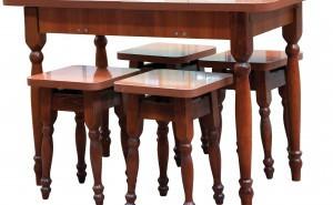 Стол кухонный раздвижной и 4 табурета 28 мм