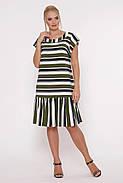 / Размер 52,54,56,58 / Женское прямое платье Яна цвет полоса оливка / больших размеров, фото 2