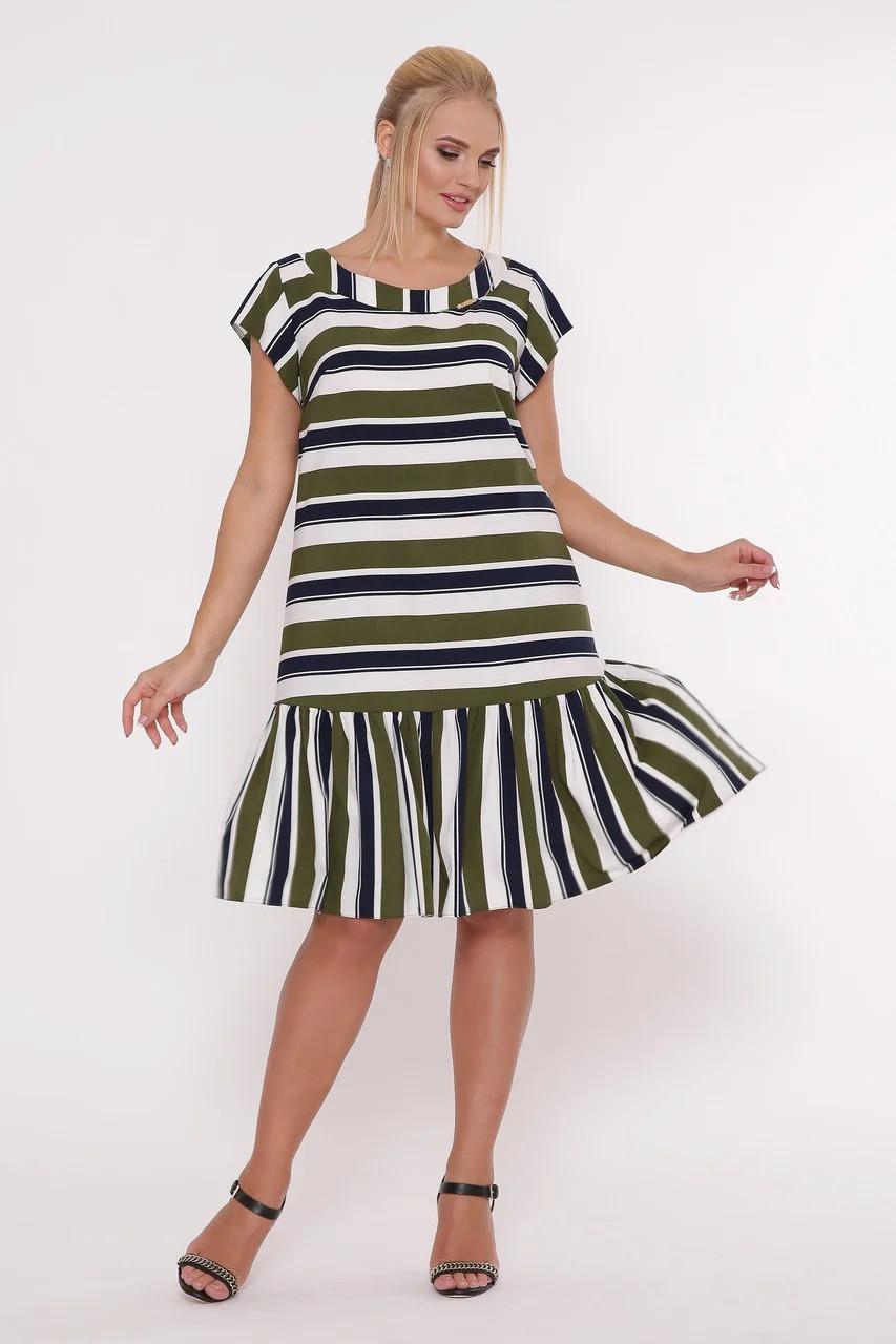 / Размер 52,54,56,58 / Женское прямое платье Яна цвет полоса оливка / больших размеров