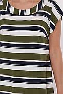 / Размер 52,54,56,58 / Женское прямое платье Яна цвет полоса оливка / больших размеров, фото 5