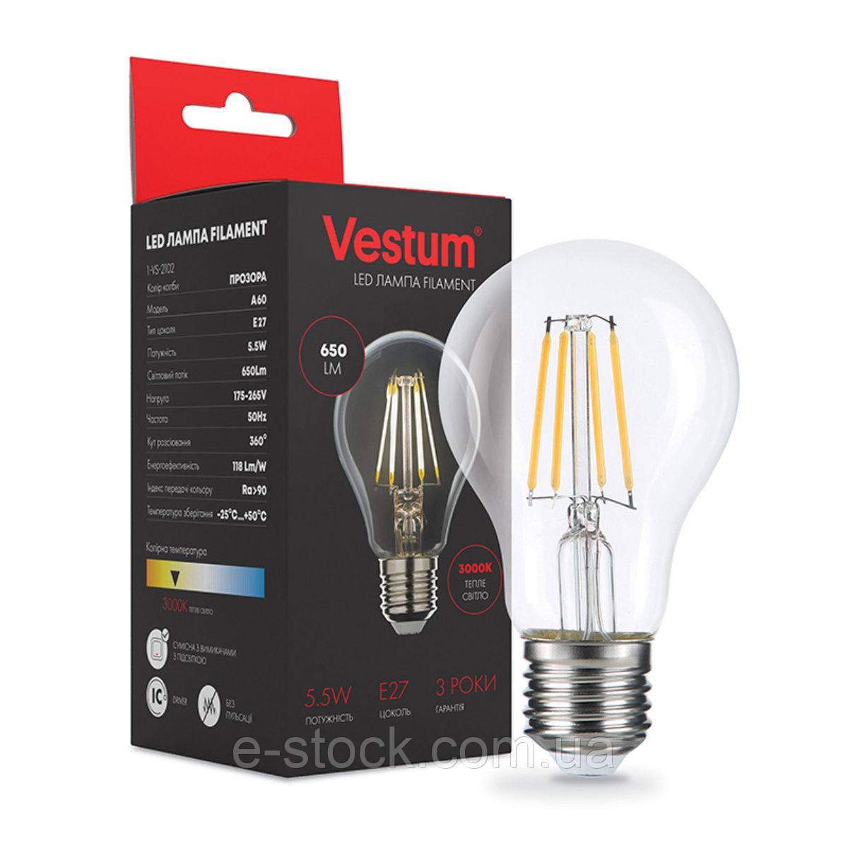 Лампа LED Vestum филамент А60 Е27 5,5Вт 220V 3000К
