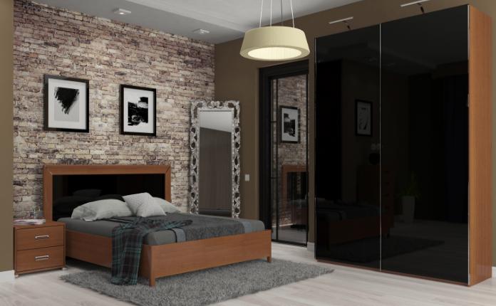 """Спальня """"Белла"""" 3Д (черная - вишня бюзум)  Миромарк"""