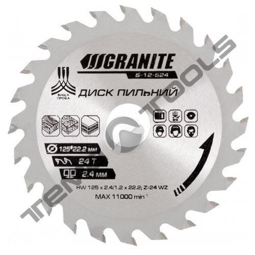 Пильный диск по дереву 190x16x60Т, 8500 об/мин, GRANITE с твердосплавными напайками