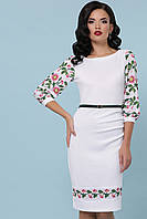 Приталена трикотажна сукня зі вставками принту вишивки, фото 1