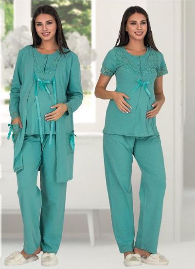 Пижама для беременных и кормящих мам Polatyildiz brilliant-green