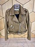 Женская замшевая куртка косуха с ремешком и молниями vN6851, фото 2