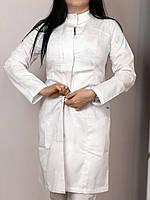 Женское Медицинское платье халат со стойкой (Белый)