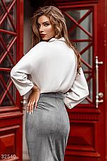 Класичесская блуза с отложным воротником длинный рукав молочная, фото 3