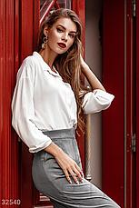 Класичесская блуза с отложным воротником длинный рукав молочная, фото 2