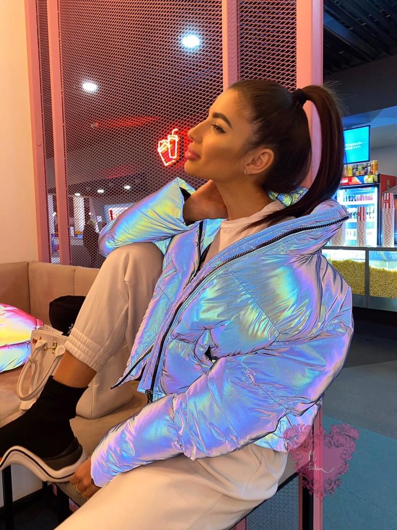 Разноцветная женская светоотражающая куртка с переливом, воротник стойка vN6858