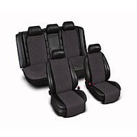 Накидки на сиденье Эко-замша узкие (комплект) без лого, цвет темно-серый Код: 4979761