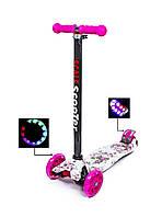 Детский самокат MAXI. Розочки. Светящиеся малиновые колеса!, фото 1