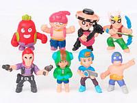 Набор мини-фигурок (4,5 см) Бравл Старс (8 шт) герои Леон, красный Кактус Спайк, Эль Примо и др., фото 1