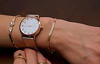 Часы кварцевые с металлическим ремешком розовое золото