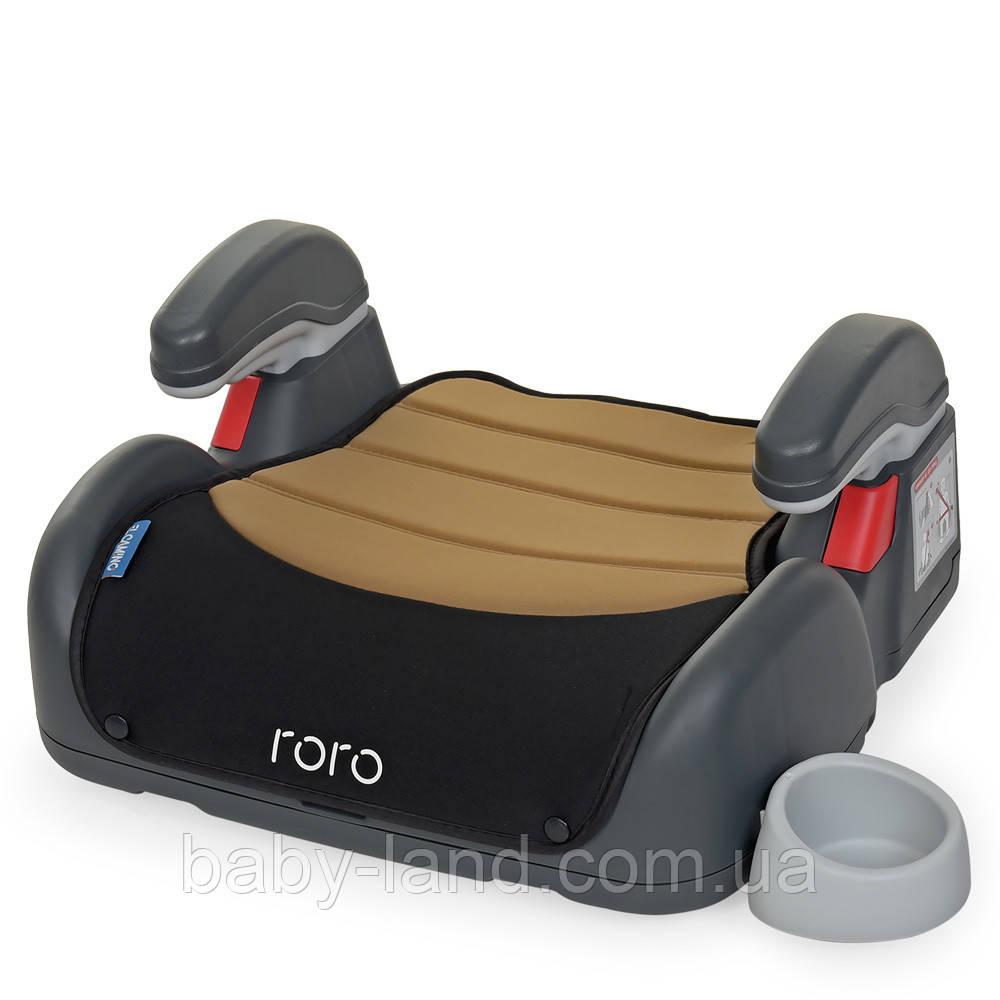 Дитяче автокрісло-бустер з підлокітниками EL CAMINO RORO ME 1044 Бежево-чорний